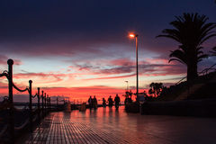 Seafront Playa del Duque at sunset Stock Photo