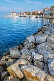 Seafront in Porec, Istria, Croatia. Summer vacation. Hotels and port with ships stock image