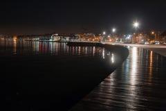 Seafront promenade фаеку the rain at night in Thessaloniki Royalty Free Stock Photos