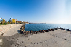 Seafront promenade in Pomorie, Bulgaria Royalty Free Stock Image