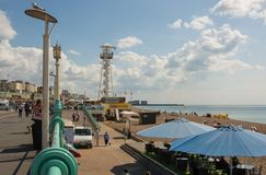 Brighton seafront with zipwire. Sussex, England Royalty Free Stock Photo