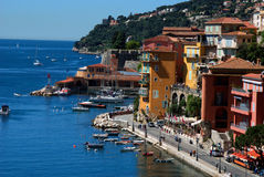 Seafront promenade in Villefranche Sur Meer at french riviera Stock Photography