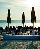 Seafront restaurant at sunset Royalty Free Stock Photography