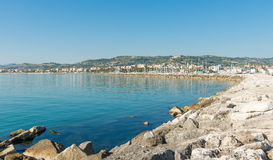 Seafront of San Benedetto del Tronto - Ascoli Piceno -Italy. Panoramic view of seafront of San Benedetto del Tronto sea Adriatrico - Ascoli Piceno -Italy Royalty Free Stock Photos