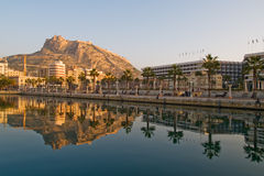 Seafront and Santa Barbara fortress in Alicante Stock Photos