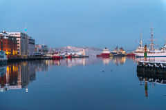 Seafront with ships in winter Bergen Royalty Free Stock Photo