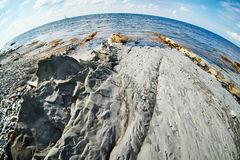 Seafront of solidified lava Royalty Free Stock Photography