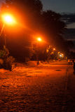 Seafront in Taganrog. Night quay with glare from lights stock images