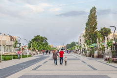Seafront with tourist walking, Mamaia, Romania Royalty Free Stock Images