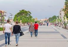 Seafront with tourist walking, Mamaia, Romania Royalty Free Stock Photos
