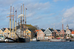 Seafront of Urk, an old Dutch fishing village. Stock Photography