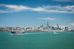 Seafuel tanker Awanuia with Auckland city skyline in the background Royalty Free Stock Photos