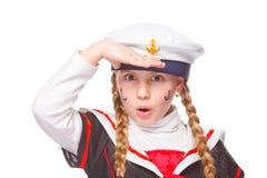 Seagirlbegroetingen stock foto