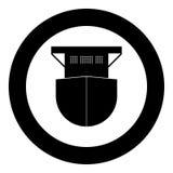 Seagoing cargo ship icon black color in circle. Vector illustration Stock Photography