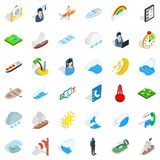Seagoing icons set, isometric style. Seagoing icons set. Isometric set of 36 seagoing vector icons for web isolated on white background Stock Photography