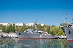 Seagoing Minesweeper of The Black Sea Fleet of the Russian Navy in the Sevastopol Bay. SEVASTOPOL, CRIMEA, UKRAINE - MAY 06, 2013: Seagoing Minesweeper `Ivan Stock Photos