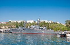Seagoing Minesweeper of The Black Sea Fleet of the Russian Navy at the Sevastopol Bay. SEVASTOPOL, CRIMEA, UKRAINE - MAY 06, 2013: Seagoing Minesweeper `Vice Royalty Free Stock Images