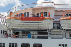 Seagoing Ship Emergency Life Boats. Stored cruise ship emergency lifeboats Stock Images