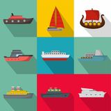 Seagoing vessel icons set, flat style. Seagoing vessel icons set. flat set of 9 seagoing vessel vector icons for web isolated on white background Royalty Free Stock Images