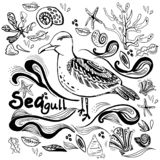 Seagull με τα κοχύλια και τα άλγη διανυσματική απεικόνιση