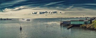 Free Seagull And Fishing Huts With Netfish Stock Photo - 67424200