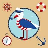 Seagull as captain. Vector collection of nautical symbols Stock Photo