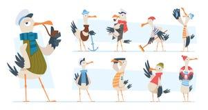 Free Seagull. Bird Sailor Or Captain In Ocean Seaside Exact Vector Funny Mascot In Cartoon Style Stock Photography - 217117432