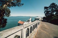 Seagull bird on scenic promenade street at Alcatraz island in San Francisco royalty free stock photography