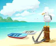 Seagull and boats on the beach. Vector illustration Royalty Free Stock Photo