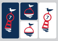 Seagull on buoy  illustration Royalty Free Stock Photos