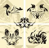 Seagull, dragon, butterfly, a snake - vector eleme Stock Image