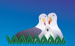 Seagull family. Taking care of there newborn royalty free illustration