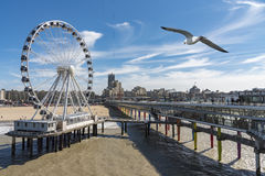 Seagull flying above the Pier structure at Scheveningen Stock Photo