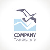 Seagull flying above the waves. Logo design. Stock Image