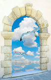 Seagull flying on blue sky Stock Images