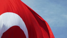 Seagull flying close to camera and turkish flag. Seagull flying close to camera, turkish flag stock footage