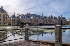 The Hofvijver court pond in front of the buildings of the Dutch parliament, The Hague, Netherlands stock photo
