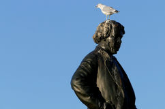 Seagull on head of Thomas D`Arcy McGee Statue Royalty Free Stock Photos