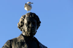 Seagull on head of Thomas D`Arcy McGee Statue Stock Image