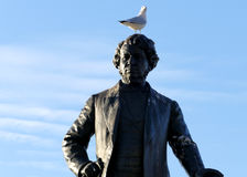 Seagull on head of Thomas D`Arcy McGee Statue Stock Photo