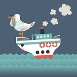 Seagull looking through binoculars on the vessel. Vector illustration Royalty Free Stock Photos