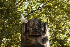 Seagull na totemu słupie Fotografia Stock