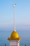 Seagull na wierzchołku iglica budynek wewnątrz stać na czele błękitnego morze obraz stock