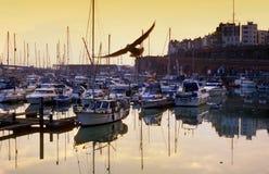 Seagull nad jachtami zdjęcia stock