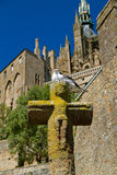 Seagull on an old stone cross Stock Photography