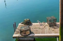 Seagull patrzeje dla jedzenia obok połowu homara cra i koszy Zdjęcia Stock