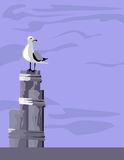 Seagull on Pilings royalty free illustration