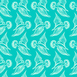 Seagull ptaka rysunek Lato denny bezszwowy wzór ilustracja ilustracja wektor