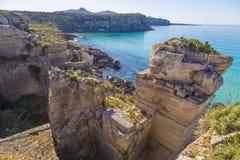 Seagull resting on a rock on Favignana island near Cala Rossa lagoon in Sicily, Italy Stock Photo