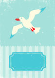 Seagull. Retro illustration of seagull on turquoise background stock illustration